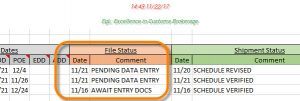 The FILE STATUS message as it appears on the GATORView Manifest